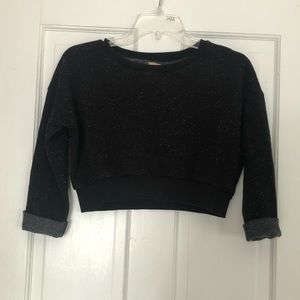 Zara Trafaluc Cropped Speckled Sweatshirt